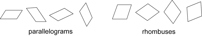 Image shows 4 parallelograms in different orientations and 4 rhombuses in different orientations.
