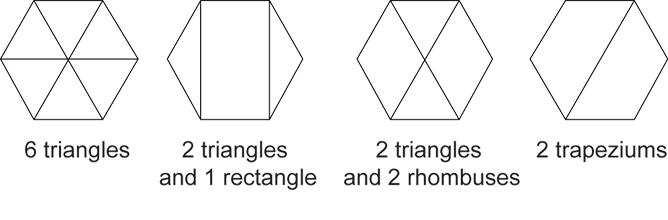 Image shows 4 regular hexagons and the shapes that can be joined to make them.