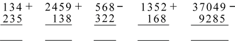 The image shows 5 formal written algorithms. Three depict additions, two depict subtractions.